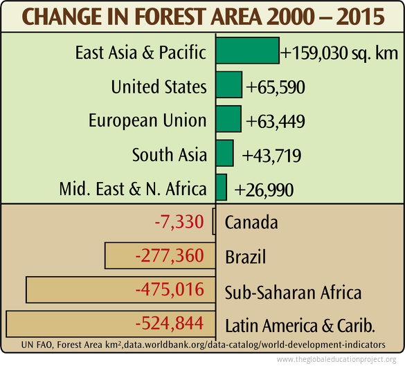 Change in Forest Area by Region
